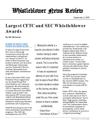 Largest CFTC and SEC Whistleblower Awards