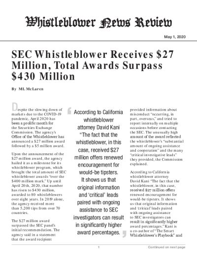 SEC Whistleblower Receives $27 Million, Total Awards Surpass $430 Million