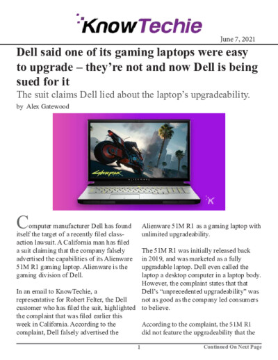 Dell said one of its gaming laptops were easy to upgrade – they're not and now Dell is being sued for it