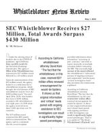 SEC Whistleblower Receives $27 Million, Total Awards Surpass $430 Million